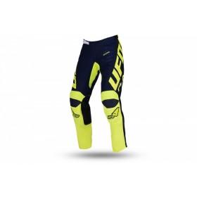 Pantalon motocross enfant UFO Kimura bleu/jaune fluo taille 38
