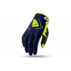 Gants motocross UFO Skill Kimura bleu/jaune fluo 2XL