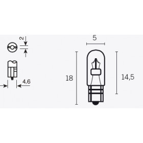 Boite de 10 ampoules V PARTS T5 12V-1,2w