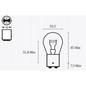 Boite de 10 ampoules V PARTS S25 12V-21/5W