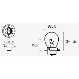 Boite de 10 ampoules V PARTS SB25 12V-15W