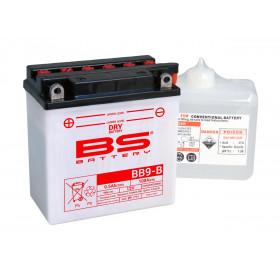 Batterie BS BB9-B conventionnelle livrée avec pack acide