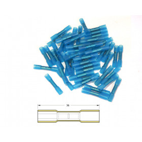 Bout à bout à sertir thermo-rétractable BIHR Ø1,5/2,5mm² - 50pcs transparent bleu