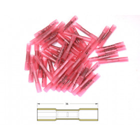 Bout à bout à sertir thermo-rétractable BIHR Ø0,5/1,5mm² - 50pcs transparent rouge