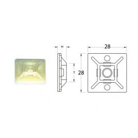 Attaches adhésives BIHR blanches 28x28mm pour collier nylon