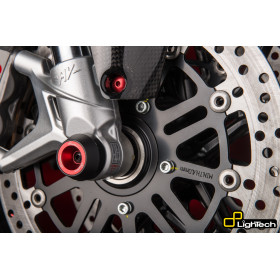 Protections fourche et bras oscillant (axe de roue) LIGHTECH rouge Ducati Hypermotard 821 - ARDU103ROS