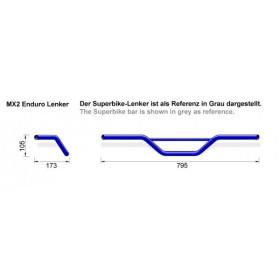 Guidon LSL MX2 Ø22mm acier chrome