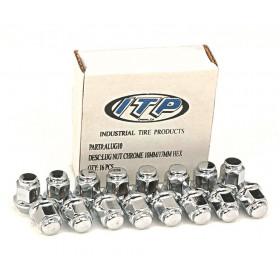 Kit écrou ITP plat chromé 10x1,25 - Boite de 16