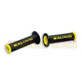 Revêtements de poignée Malossi Cup noirs/jaunes avec découpe