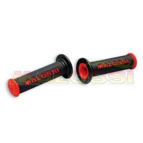 Revêtements de poignée Malossi Cup noirs/rouges sans découpe