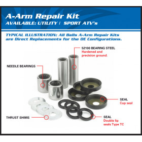 Kit reconditionnement de triangle supérieur ALL BALLS Yamaha YFM 660R Raptor