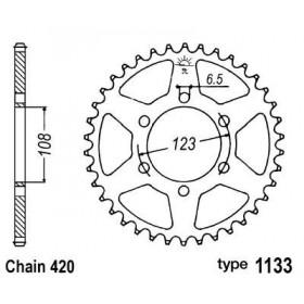 Couronne acier B1 52 dents chaine 420 Derbi/Aprilia/Peugeot