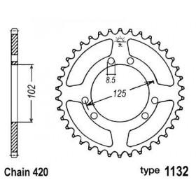 Couronne acier B1 53 dents chaine 420 Derbi Senda DRD/Bultaco Astro