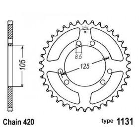 Couronne acier B1 53 dents chaine 420 Gilera/Derbi/Yamaha/Peugeot