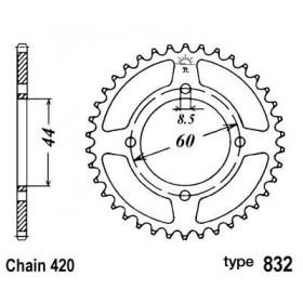 Couronne acier B1 52 dents chaine 420 Yamaha DT50R - MBK X-Limit
