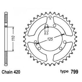 Couronne acier B1 50 dents chaine 420 Suzuki RMX50