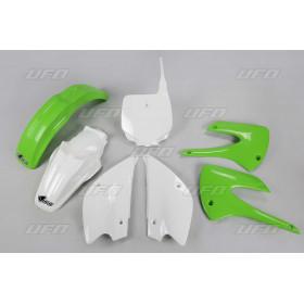 Kit plastique UFO couleur origine vert/blanc Kawasaki KX85