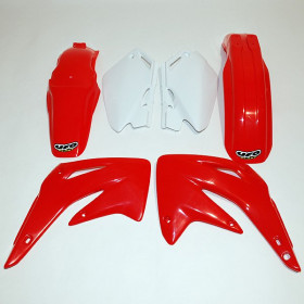 Kit plastique UFO couleur origine rouge/blanc Honda CR85R/RB