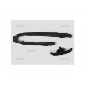 Kit patin de bras oscillant + patin de chaîne inférieur UFO noir KTM